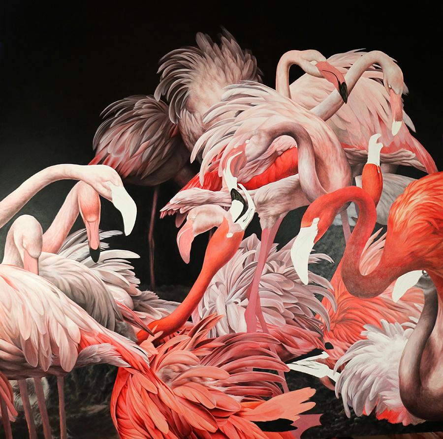 heidi willis_artist_acrylics_painting_flamingos_bird