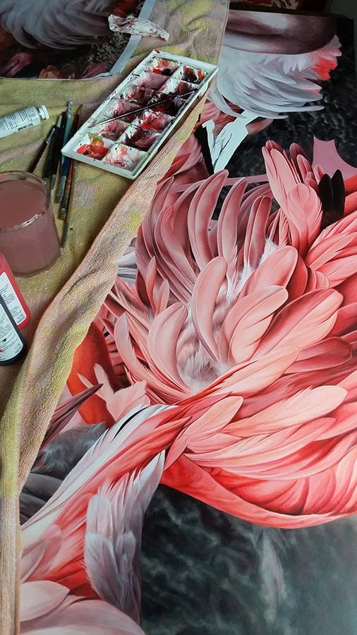 heidi willis_artist_bird painting_flamingo_acrylics_illustration