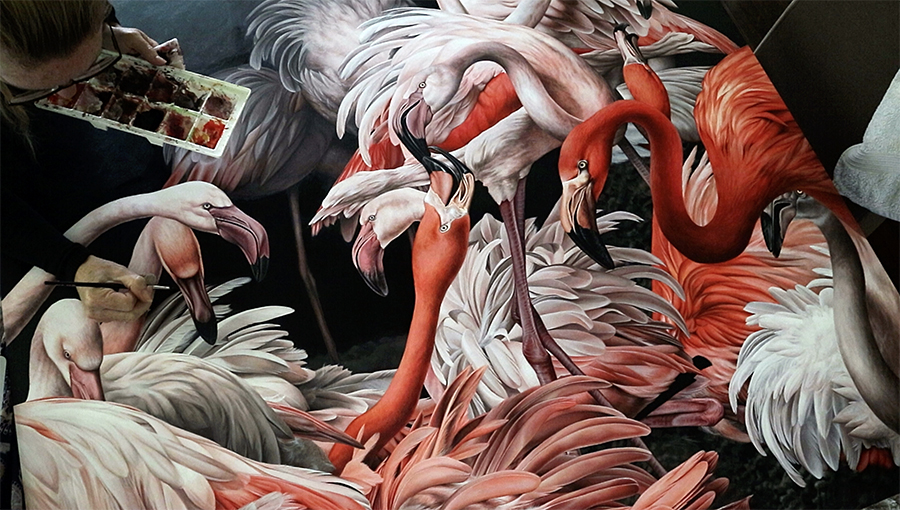 heidi willis_artist_flamingos_painting_acrylics_bird