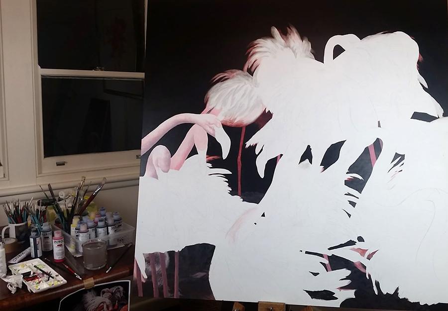 heidi willis_bird artist_acrylics_flamingos