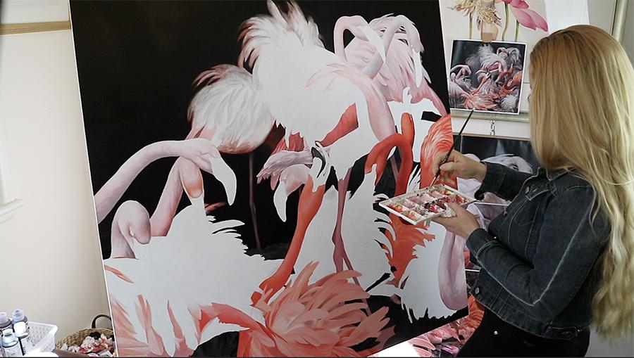 heidi willis_bird painting_acrylics_flamingos_artist_natural history