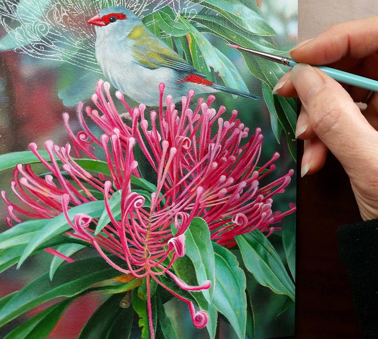s_heidi willis_bird painting_waratah_red browned finch